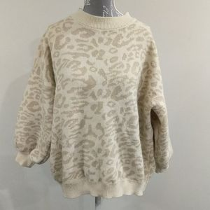 SHein drop shoulder Jaguar print sweater